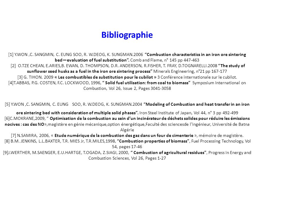 Bibliographie [1] Y. WON ,C. SANGMIN, C. EUNG SOO, R. W. DEOG, K